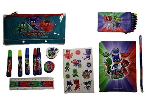 PJ Masks 2246; Set Escolar Set de papelería 20 Piezas. Portatodo, Lapiz, Goma,...
