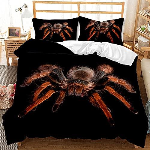 Proxiceen Ropa de cama, diseño de araña 3D, fibra de poliéster, cremallera, fácil de limpiar, traje de tres piezas (A3,220 x 240 cm + 50 x 75 cm x2).