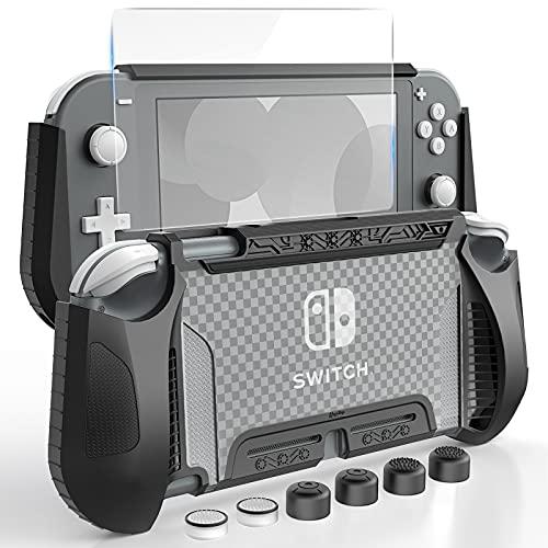 HEYSTOP Hülle Kompatibel mit Nintendo Switch Lite, mit gehärtetem Glas Displayschutzfolie und 6 Daumengriff, TPU Schutzhülle für Switch Lite mit Anti-Kratzer/Anti-Staub (Schwarz)