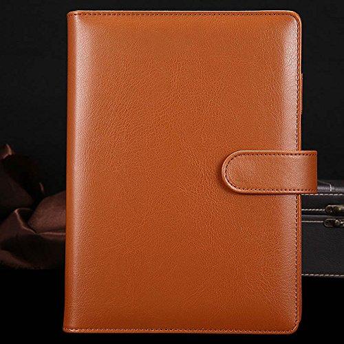 Carpeta de anillas de cuero sintético A5, 6 anillas redondas, rellenable, para papel de relleno A5, diario en espiral, cuaderno de viaje, cuaderno de escritura, color marrón