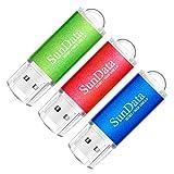 SunData Memorias USB 3 Piezas 16GB PenDrives 16GB Unidad Flash USB2.0 Pen Drive con Luz LED (3 Colores: Azul Verde Rojo)