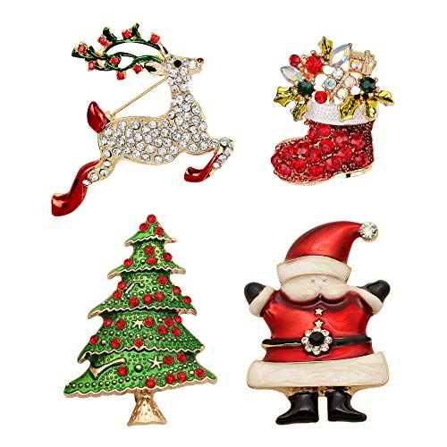 Awyuan Juego de 4 broches de Navidad para mujer, para ropa, bolsa de ropa, decoración de Papá Noel, alce, árbol de Navidad, broche de campana, accesorios de decoración de Navidad