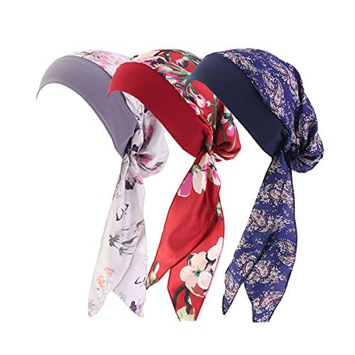 Women Vintage Silky Turbans Bonnet Elastic Wide Band Multifunction Printing Hat Chemo Hair Loss Cap (3 Pack)