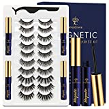 Magnetic Eyelashes with Eyeliner Kit with Tweezer, 10 Style Reusable Lashes for Women, Upgraded 3D Magnetic Eyelashes Natural Look, 4Pcs Waterproof Magnetic Eyeliner and Magnetic Eyelash Kit