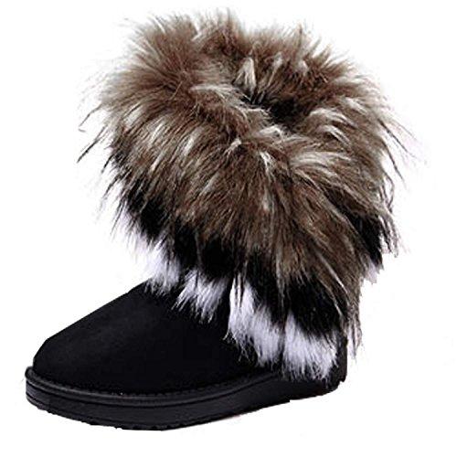 Minetom Mujeres Niñas Invierno Botas Tacón Plano Pelaje Botas De Nieve Calientes Zapatos Negro EU 39