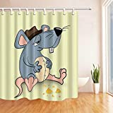 vrupi Duschvorhang Cartoon Thema kreative graue Maus Käse hellgelb 71x71 Zoll hochwertige Polyester wasserdichtes Gewebe Duschvorhang einschließlich 12 Kunststoffhaken