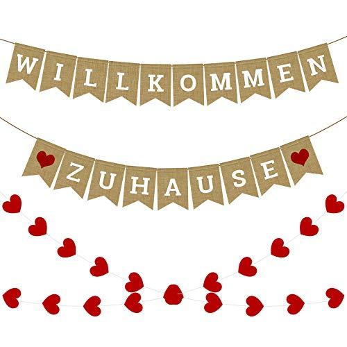 iZoeL WILLKOMMEN ZU Hause Girlande Rustikal Banner mit Herzen Girlande 4meter Thanksgiving Decor Familientreffen Family Party Dekorationen