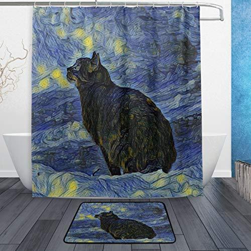 Ahomy 2-teiliges Duschvorhang-Set, Van Gogh Ölgemälde Katze Himmel 150 x 180 cm Duschvorhänge & rutschfeste 60 x 40 cm Badematte, 12 Haken, personalisiertes Badezimmer Dekor