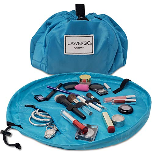 Lay-n-Go Drawstring Makeup Bag – Blue, 20 inch - Travel Cosmetic Bag and Jewelry, Electronics, Toiletry Bag – Perfect Holiday Gift