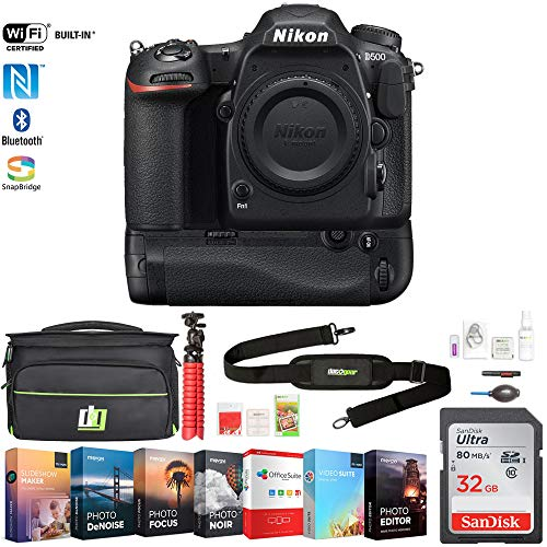Nikon 1559 D500 20.9 MP CMOS DX Format DSLR Camera Body with 4K Video Bundle with Battery Grip, 32GB Memory Card, Photo and Video Editing Suite, Deco Gear Camera Bag and Accessories (9 Items)