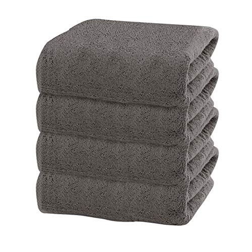 DFVVR Premium Quality 100% Cotton Towels Soft and Absorbent 4PC, Home Textiles for Home & Garden, Nice Gift (Gray/70x140cm)