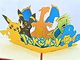 BC Worldwide Ltd handgemachte 3D-Pop-up-Karte Pokémon Taschenmonster Geburtstag Kind Kind Party Einladung Jubiläum Muttertag Vatertag Valentinstag