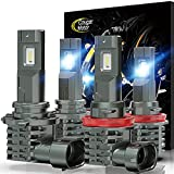 Cougar Motor 9005+H11 LED Bulb, 10000LM Noiseless 6500K Cool White Combo (2 sets) All-in-One Conversion Kit Direct Installation, Halogen Replacement