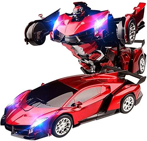 Control remoto Coche, Control remoto para niños Control remoto de automóvil Modelo de juguete de robot de coche deformado, con luz de sonido USB Carga, deformación activada por voz, sistema de detecci