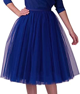 a7169cbc644 POQOQ Skirt Womens Pleated Gauze Knee Length Adult Tutu Dancing