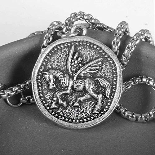 BACKZY MXJP Collar Collar De Pegaso, Colgante De Estilo De Moneda De Grecia Medieval, Joyería De Caballo Volador para Hombre Collar