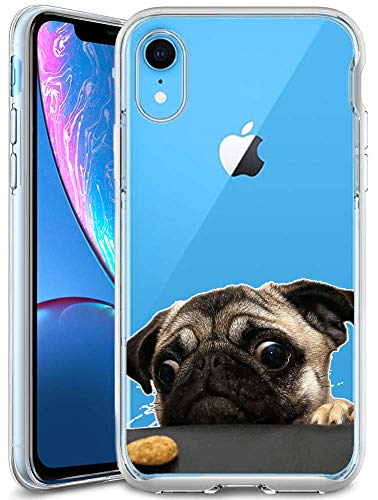 iPhone XR Case,Slim Fit Shell Soft Thin Mobile Phone Clear Case with Non Slip Matte Surface Protective Clear case for iPhone XR-Pug Dog