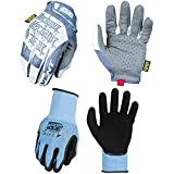 Mechanix Wear - Specialty Vent Work Gloves (X-Large, Grey/White) + SpeedKnit CoolMax Work Gloves - 13-Gauge Shell w/ Evaportative Cooling Technology, Foam Latex Palm Coating (Large/XLarge, Black)