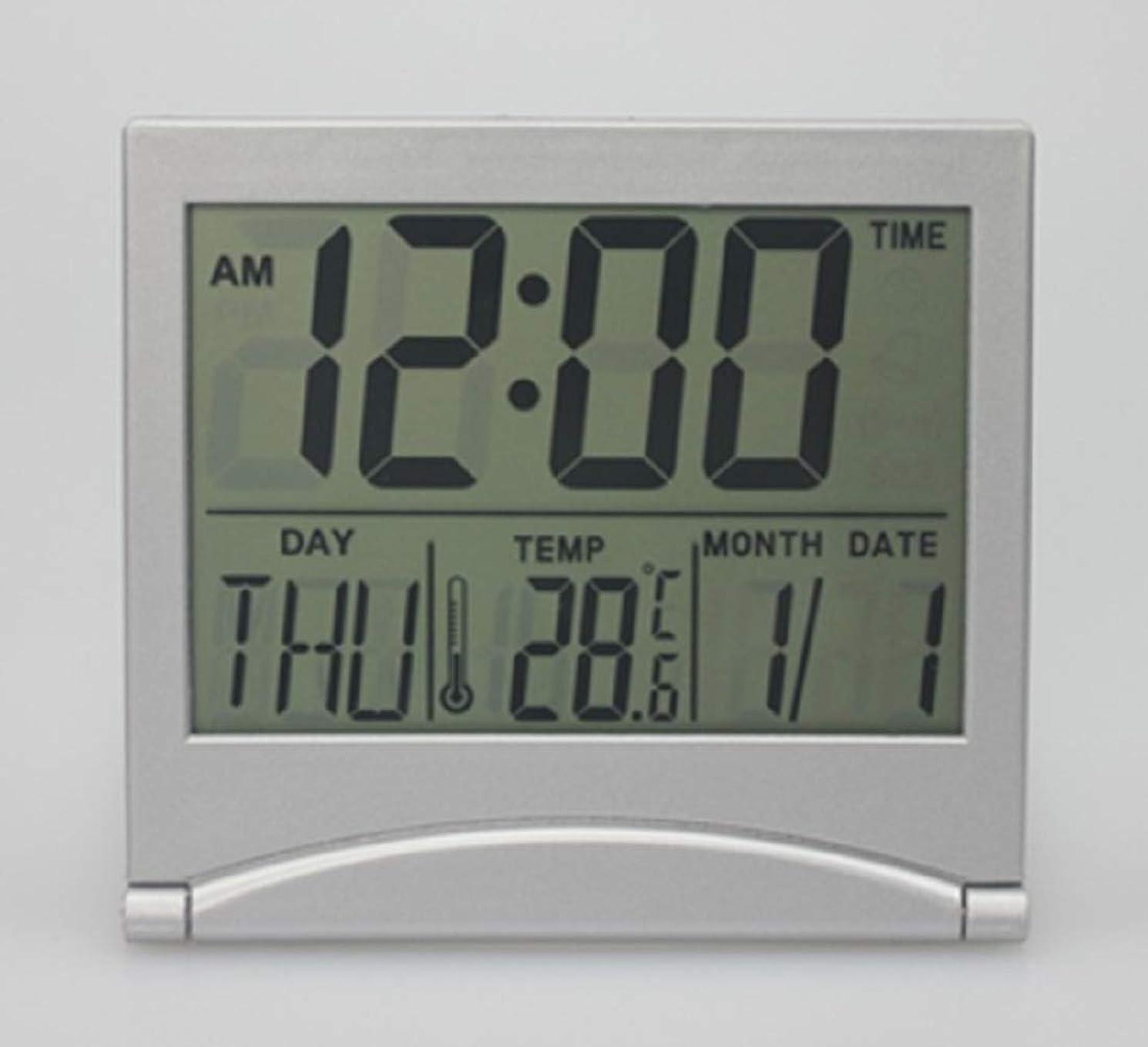 特殊ラメ虐待デジタル コンパクト 時計 デスククオーツ 置き時計 目覚まし時計 アラーム 机の上 ベットサイドに 軽量 持ち歩き 旅行携帯 近眼 老眼でも 裸眼で見えやすい大きさ表示