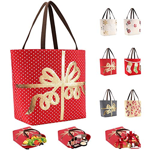 LessMo Christmas Canvas Tote Bag, Large Grocery Shopping Bags, Reusable Multipurpose Heavy Duty, for Outdoor Supermarket Shopping, Christmas Party Favor supplies
