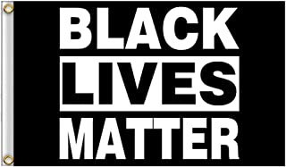 Hosston 3 x 5 Feet Black Lives Matter Flag, Stop The Violence BLM Peace Protest Outdoor Banner Pennant Outdoor Decorative Flags for Home House Garden Yard Decorations(Black 02)