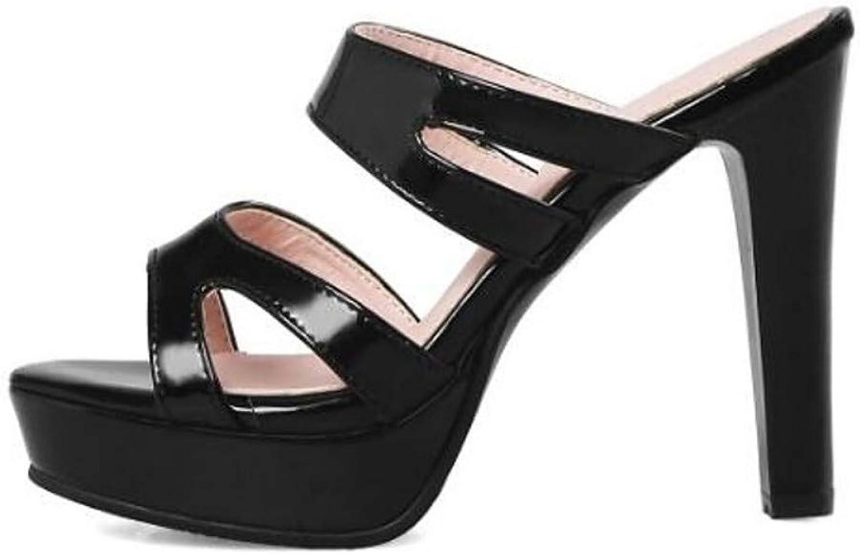 ZHZNVX Women's PU Spring Sandals Stiletto Heel Black Yellow Almond
