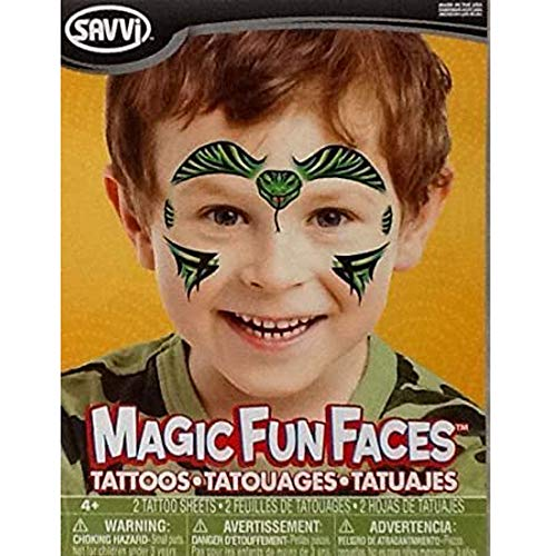 Temporary Tattoos ~ Magic Fun Faces ~ Savvi Serpent Temporary Tattoos 2 Sheets by Savvi