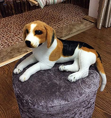 Stuffed Animal,Lifelike Stuffed Interactive Pet Toy,Beagle Dog Plush Toy Lying Prone,The Child Plush Toy,Toys For 3 Year Old Boys(15.7in/40cm) 40cm Brown