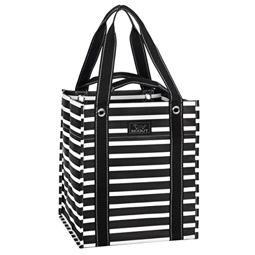 SCOUT Bagette Reusable Large Grocery Shopping Tote Bag, Folds Flat, Two Handle Lengths, Water Resistant (Fleetwood Black)