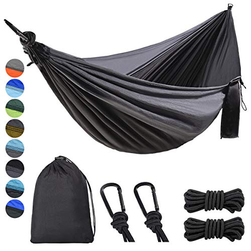 Lifeleads Outdoor Camping Hammock-Nylon Double Portable Parachute Lightweight for Outdoor or Indoor Backpacking Travel Hiking (Charcoal& Black, Double)