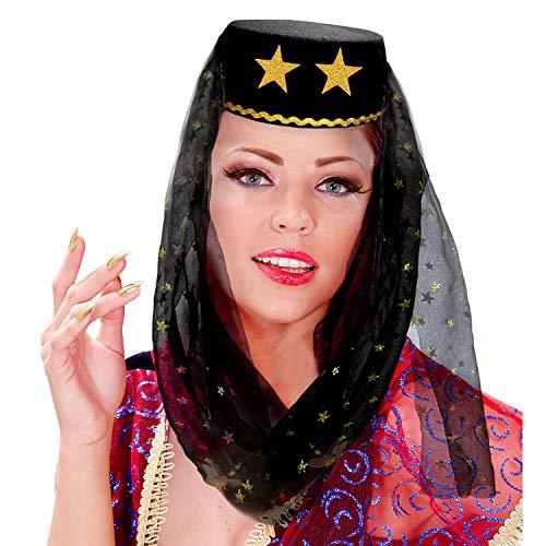 WIDMANN 25011 - Sombrero harn con velo de fieltro, color negro, para carnaval, fiesta temtica