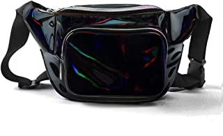 Fashion Holographic Fanny Pack for Women,Waterproof Cute Waist Bag for Teen Girls,80s Neon Fanny Pack with Adjustable Strap for Travel,Festival,Running,Hiking,Festival Party,Rave
