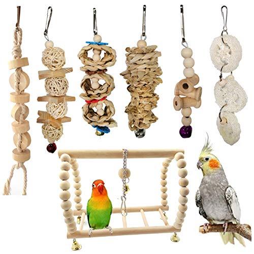 7 Stücke Vogel Spielzeug Set Kauen Spielzeug Hängen Käfig Schaukel Papagei Stehen Klettern Spielzeug für Liebe Vögel Wellensittich Aras Nymphensittiche Sittiche Afrikanischen Grau Papageienfinken