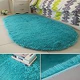 EmNarsissus Ellipse Alfombra de Lana Suave 40 * 60 cm Cómoda Alfombra de Lana Gruesa para el hogar de Moda para la Sala de Estar del Dormitorio (Azul Pavo Real)
