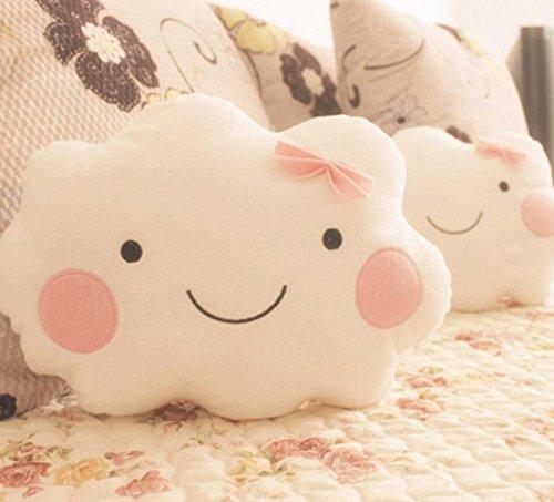 Dersoning Cojines Smiley Face Cloud para niña con Arco (Color Blanco)