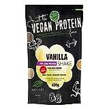 Nature's Finest Batido de proteína vegano sabor a vainilla Bio 70% edulcorado con Stevia 450g | Sin azúcar ni gluten | Mezcla de Proteínas Vegetales.