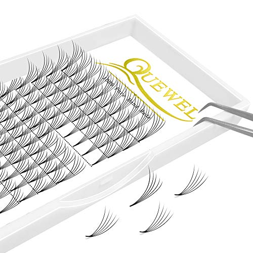 Russian Volume Premade Fans Eyelashes Extension 5D 6D Thickness 0.07/0.10 Curl C/D Length 8-15mm by Quewel(5D-0.07-C, 11mm)