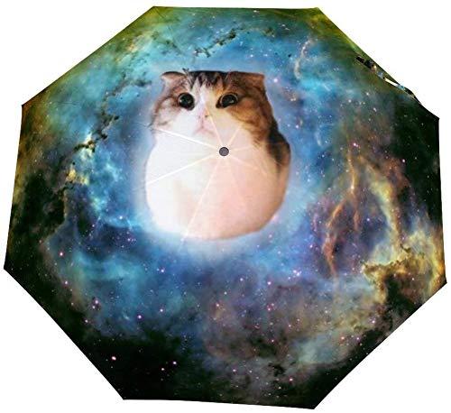 Omgekeerde omgekeerde winddichte schattige kat komen uit Bleak gat in Galaxy Paraplu - Ondersteboven paraplu's met C-vormige handvat voor vrouwen en mannen - Dubbele laag binnenstebuiten vouwparaplu