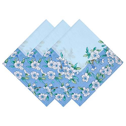 OLESILK Damen Taschentücher Stofftaschentücher mit Pfirschblüte Muster 100% Baumwolle für Alltagsgebrauch, 3 Stücke Geschenk-Set, ca. 43x43cm, Hellblau