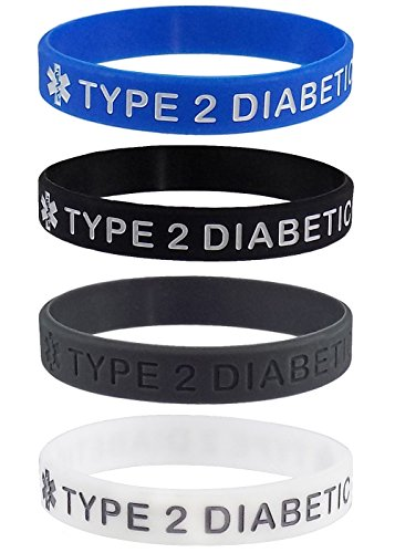Max Petals Type 2 Diabetic Medical Alert ID Silicone Bracelet Wristbands 4 Pack (Adult - 8 inches)