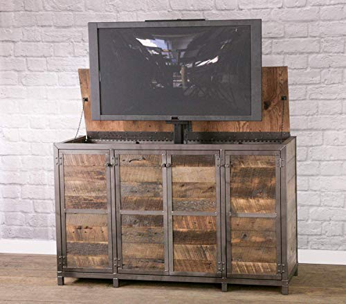 Rustic industrial tv lift cabinet. Infinity edge media console. Modern industrial credenza. Hidden compartment. Reclaimed wood