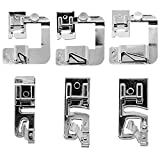 Rolled Hem Presser Foot [6 Sizes] Wide Rolled Hem Foot Set & Narrow Foot Hemmer Set For Brother, Singer & Janome Low Shank Sewing Machines. Hemming Pressure Feet With Distinctive Wide and Narrow Sizes