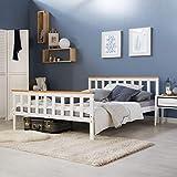 Homestyle4u 1843, Holzbett 140x200 cm weiß, Doppelbett mit Lattenrost, Kiefer Massivholz - 5