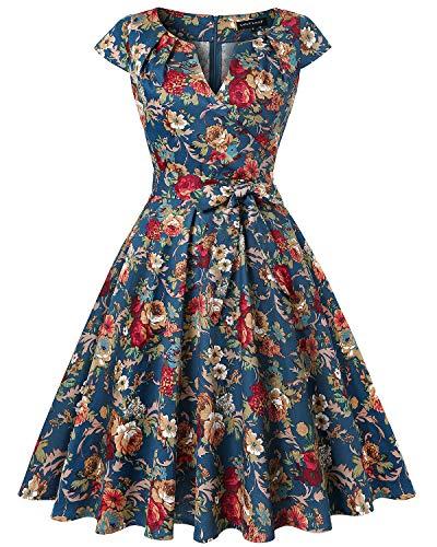 MINTLIMIT Damen Vintage 1950s Retro Rockabilly Abschlussball Kleider Kappenärmel(Floral Navy blau,Größe S)