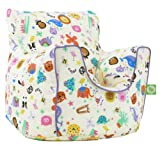 Cotton Party Animal Bean Bag Arm Chair with Beans