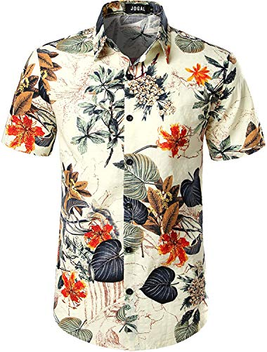 JOGAL Mens Flowers Casual Aloha Hawaiian Shirt Large A334 Wh