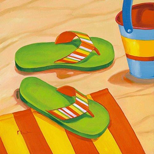 AFDRUKKEN-op-GEROLDE-CANVAS-Green-Flip-Flops-Brent-Paul-Kust-Afbeelding-gedruckt-op-canvas-100%-katoen-Opgerolde-canvas-print-Kunstdruk-op-gerold-canvas-vo-Afmeting-37_X_37_cm
