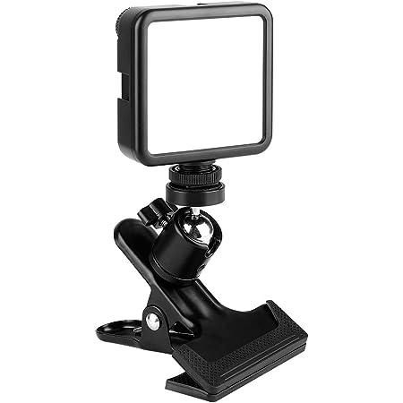 撮影 照明 ライト LED ビデオライト コンパクト クリップ式雲台が付き カメラライト 81球 小型 充電式 3000mAh 3200K-5600K Ra95+ 調光 撮影ライト デジタルカメラ DJI Osmo Pocket Action Mobile 3 Gopro Hero 9/8/7/6/5 iPhone Canon Nikon Sony zoom用