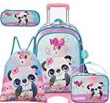 Rolling Backpack for Girls 5 in 1 Panda Elementary Student School Backpacks with Wheels Trip Luggage 17 inch kids Laptop Bag with Lunch Box for Teen Girls