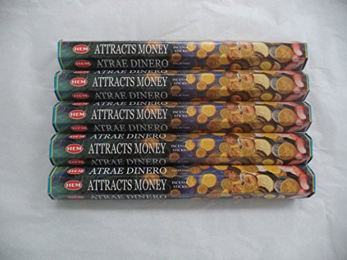 HEM atrai dinheiro 100 palitos de incenso (5 x 20 pacotes de palitos)